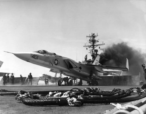North American RA-5 Vigilante being prepped for carrier take off, USS Forrestal, Vietnam War