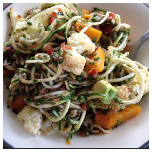 oldrecordscheapwine:  Zucchini pasta with avocado and baked pumpkin and cauliflower. I inhaled this in about three mouthfuls.