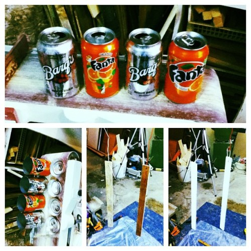 my new #project #cans #popcans #fanta #rootbeer #paint #workshop (Taken with instagram)