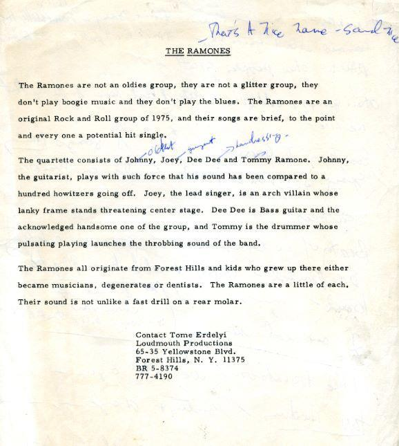 "wlodarczyk:  The original Ramones press bio (via http://www.facebook.com/photo.php?fbid=10150667109712016&set=p.10150667109712016&type=1)  ""Their sound is not unlike a fast drill on a rear molar."" Oh I wish I could write a press release like that. Wait. Challenge Accepted."