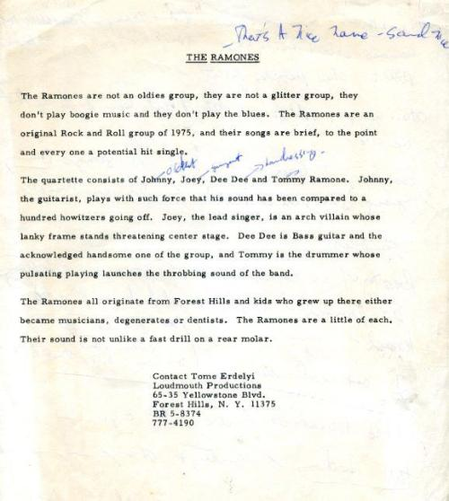 The Ramones' first bio from 1975, via WFMU.