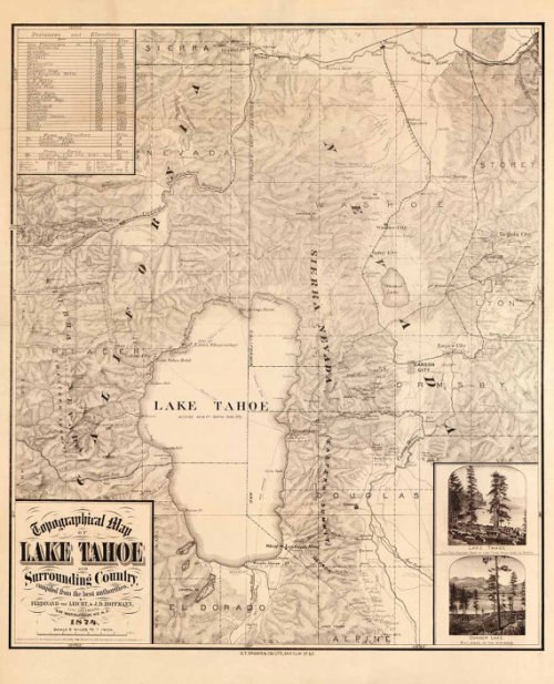 Topographical Map of Lake Tahoe and Surrounding Country, 1874