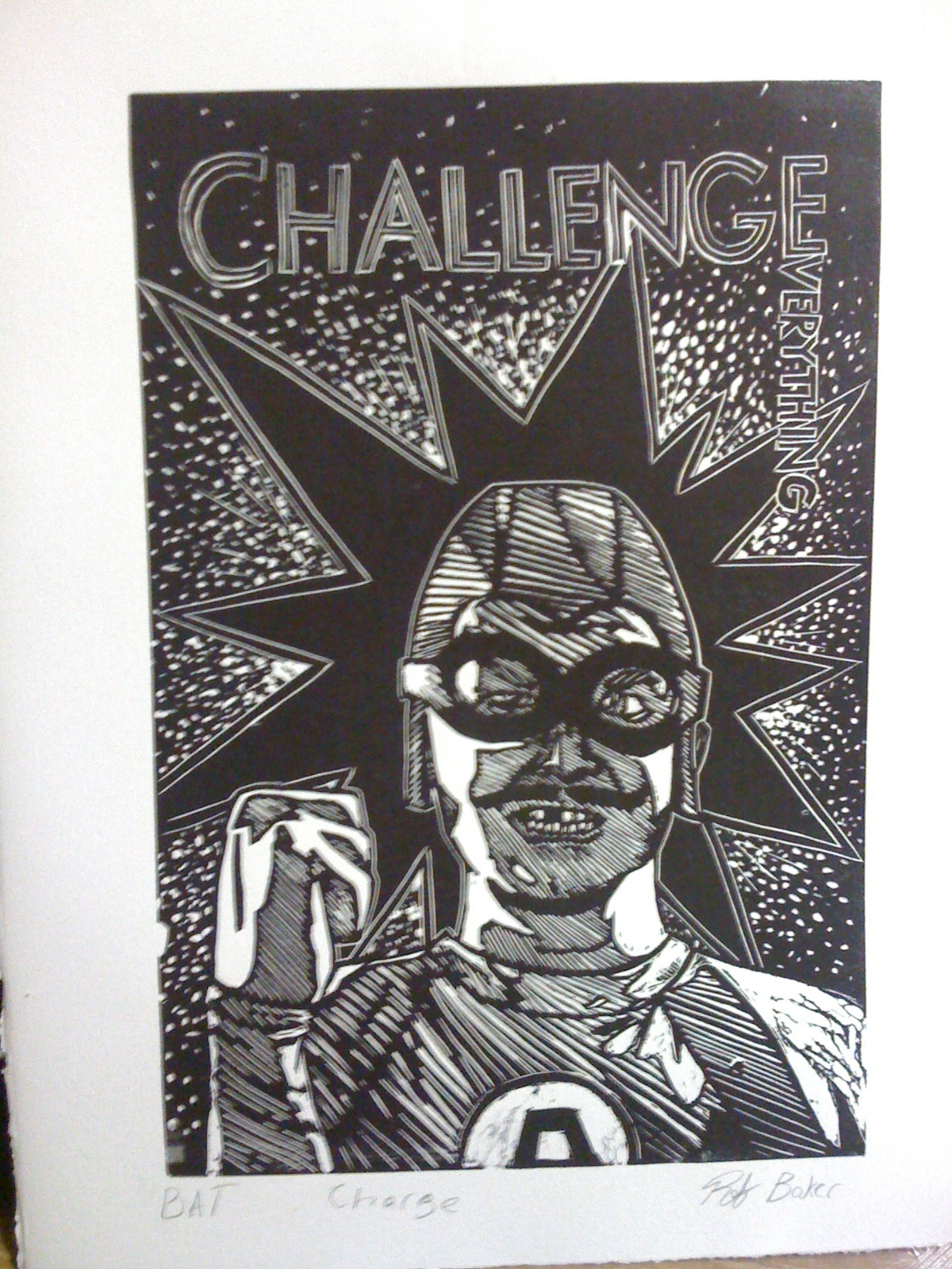 "A Linoleum print of MCBC from @theaquabats I did for printmaking 1. Title ""Charge""  I would like to send MCBC a print but I have no idea how to go about doing that. so maybe putting it on the interwebs will help… it couldn't hurt, right? right!?"
