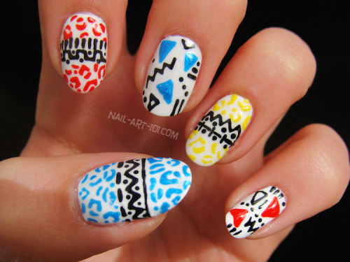 nail-art-101:  My Homage to Boom Nails (warning: Link is NSFW!) I saw these nails as part of a photoshoot for Front magazine and I loved them!  Imagine my surprise at seeing nail art in a Lads Mag full of half naked girls!  I discovered they were by Boom Nails and I knew I had to recreate them for homage month!