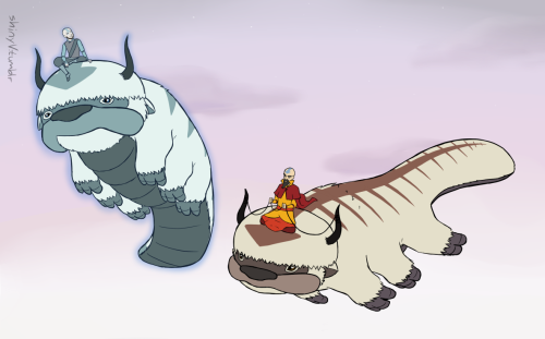 shinyv:  aang checking up on his kid from spirit land no big deal avatarfeelings.png [click dA thing for fullview because i bet tumblr shrinks it]