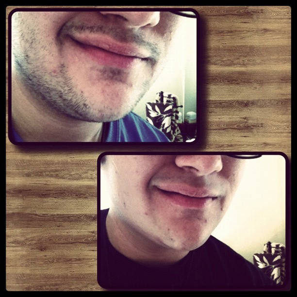 Five #days without #shaving, it was nice not having to worry. Too bad I had to shave for #work. #facial #hair #facialhair #guy #gay #portrait #instagram #beforeandafter (Taken with instagram)