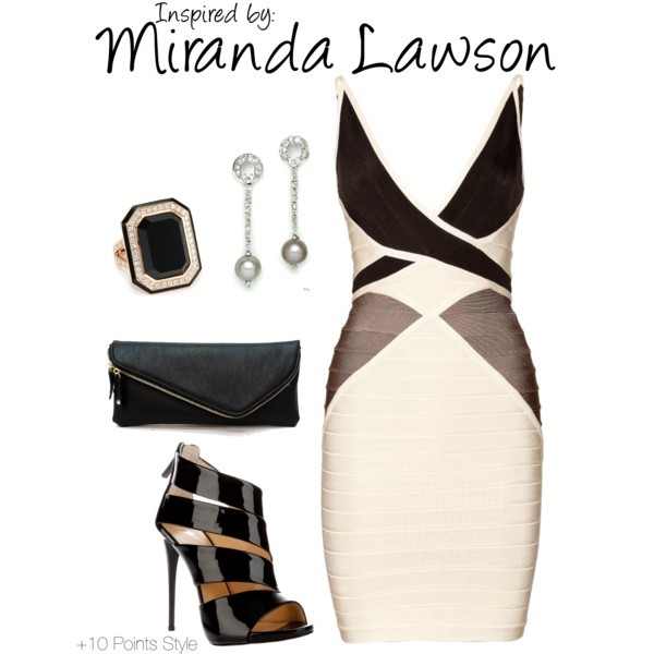 Miranda Lawson (Mass Effect) by ladysnip3r featuring an ivory clutch With a Cerberus paycheck, you might as well splurge! Inspired by Miranda Lawson from the Mass Effect series. (Reference Image)