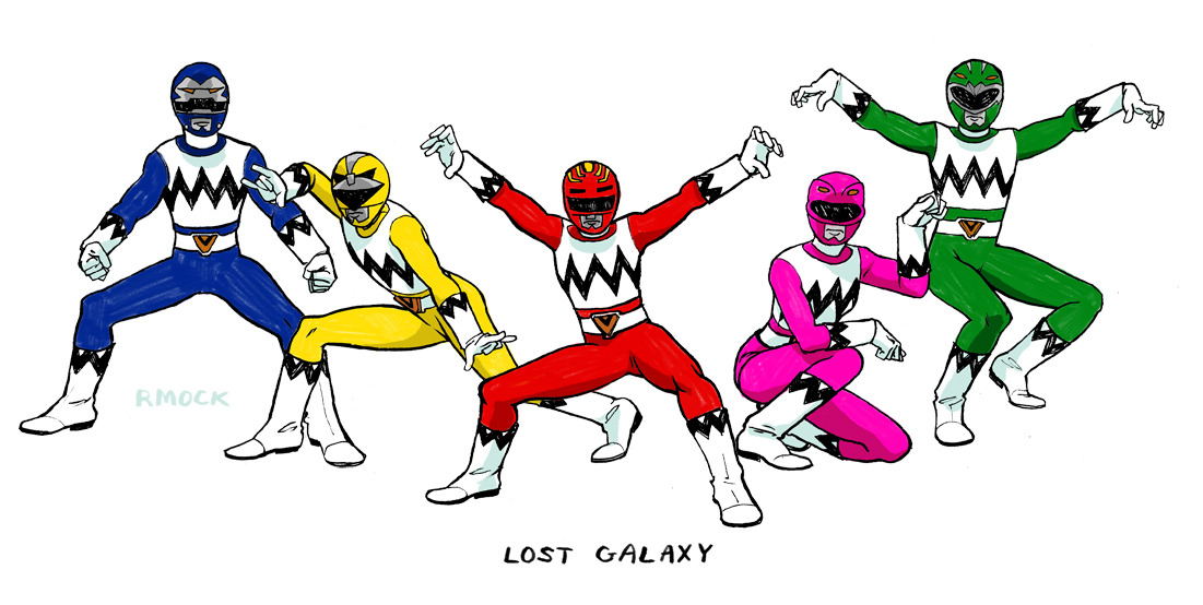 Power Rangers Lost Galaxy!  Lost Galaxy was about a Ranger team that protected a space colony and gained their powers from a mystical alternate dimension. It was a cool mix of scifi and fantasy. I thought the acting and writing were pretty corny and watered-down considering the subject matter, but it's still one of my favorites.  The opening sequence is a particular gem.  I did not include the Magna Defender though, I'M SORRY ;_; i didn't draw him originally because he was harder to draw than the rest of them. I'm lazy. i'll draw him eventually… [poses ref]