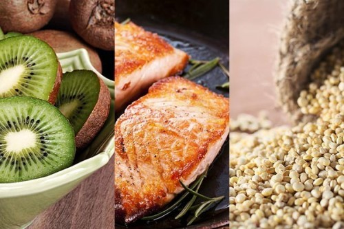 sweatsalty:  Top 10 Super Foods - Click to See Slideshow! Wild Salmon Slimming Superpowers The fish's omega-3 fatty acids could help you fight flab more effectively. They alter the expression of certain genes, shifting your body to burn fat rather than store it. The amazing proof In a study analyzing the diets of 35,000 women, published in Public Health Nutrition, those subjects who ate oily fish such as salmon two to four times per week had the lowest basal metabolic indexes, a common measure of body fat. Quinoa Slimming Superpowers A complete protein, quinoa has all the essential amino acids needed to build metabolism-revving muscle. The amazing proof Reduced-calorie dieters eating about 115 g of protein daily lost 22 percent more fat after four months than those who ate 70 g per day, The Journal of Nutrition reports. Kiwifruit Slimming Superpowers A large kiwi has 84 milligrams of vitamin C—more than a day's quota. C helps form carnitine, a compound that transports fat into cell mitochondria, where it's burned for energy during exercise. The amazing proof People with low blood levels of C burned 10 percent less fat per pound of body weight while walking than did those with normal levels of C, a study at Arizona State University in Mesa shows. But when subjects got a dose of C, their fat burning increased fourfold.