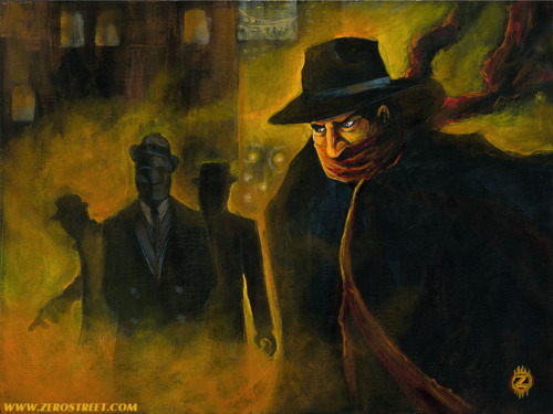 """Backstreet Brawl"" by Robert Jimenez, a great modern-day pulp illustration featuring The Shadow…"