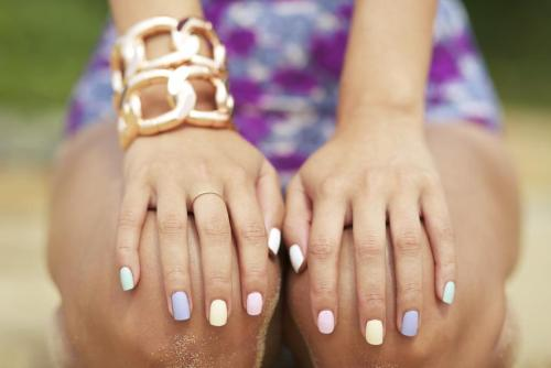 what-do-i-wear:   American Apparel  Nail Polish, Benah Rose Gold Cuffs (image: garypepper)