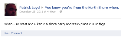 "Some random guy hating on ""You Know You're From The North Shore When"" Facebook page. Yeah nah…"