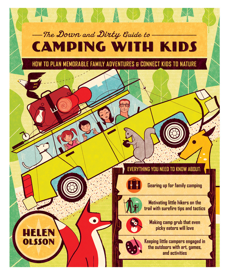 Proposed book cover for a how-to camp w/ your kids book I illustrated this winter.