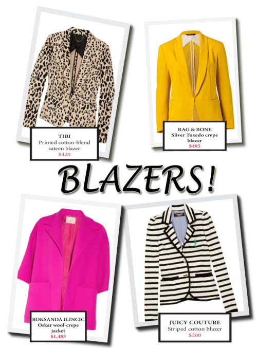 4 Perfect Transitional Blazers I love a fitted blazer. When I'm shopping, I often find myself browsing the racks for a blazer that is not only visually appealing, but will also transition well through the seasons and can be worn on various occasions. I've rounded up four gorgeous blazers that can be styled for a high-glam event or a low-key brunch with friends. These blazers will make a statement and have you looking chic throughout the year.  Here's where to get them:  TIBI - Printed cotton-blend sateen blazer RAG & BONE - Sliver Tuxedo crepe blazer ROKSANDA ILINCIC - Oskar wool-crepe jacket JUICY COUTURE - Striped cotton blazer