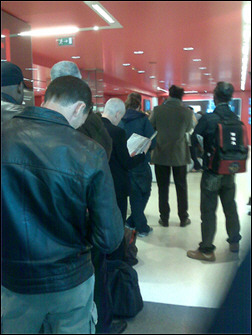 "September 16th, 2008. SFR store in Paris, France. In line to get one of the very first BlackBerry Bold 9000 in France. I took the day off, just to get one of the first 16 devices to hit Paris the first day. I had to have it. I played, that morning, the game of calling every SFR stores all over Paris to check out their deliveries to see if they have received the BlackBerry Bold 9000 ""The Great"". Of course, it was impossible to put a device on hold, you had to be physically there. At 1pm, I got a tip from a store located in the 16th district that the store on the Champs-Elysees was more likely to be the only store with the first Bold in France and that I should start getting in a line, I took my scooter and in no time, I was there, entering the SFR store. I guess I was not the only one who heard the news.   Read the article here."