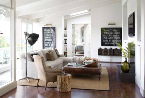 Source: Country Living Cosy sitting room. Love the bus old bus signs.