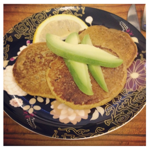 Quinoa Pumpkin Pancakes Served with avocado and a squeeze of lemon. I will post the recipe for this very soon. This is my own recipe, and I need to change a couple of things, but they were very delicious! Perfect Autumn/Winter flavours, and can be served savoury or sweet.  Vegan, gluten free, sugar free, low fat.
