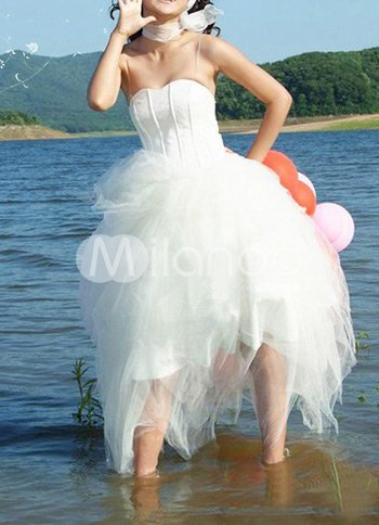 White Classic Strapless Satin Mini Wedding Dress :  mini wedding dress strapless classic
