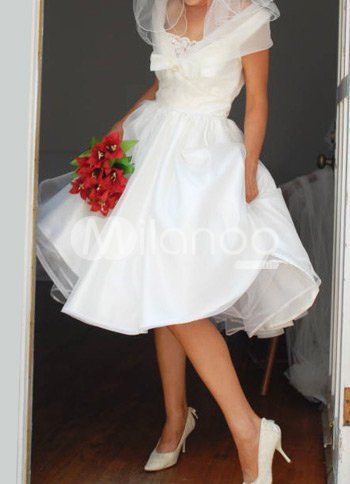 White Tea Length Taffeta Mini Wedding Dress :  tea length mini wedding dress taffeta