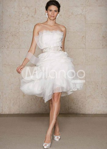 White Tulle Beautiful A-line Women Short Wedding Dress :  aline wedding dress tulle white