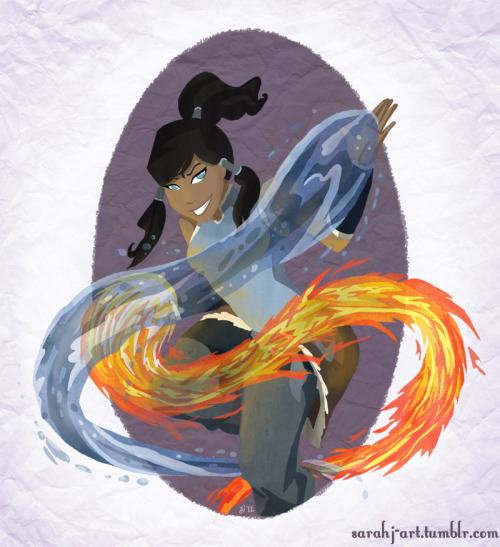 sarahj-art:  My first Korra fan art! I think I only ever did one Avatar: TLA fan art piece… which hopefully no one sees on my old DeviantArt account… But I'm a professional artist now and not in college so there's kind of more time? Enjoy!  Gah, Korra is such a great show. So beautifully conceived and animated. Reblogging my fan art as a big reminded to do more… maybe today?