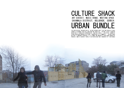 "Culture Shack by James w. Stodgel is the winner of the Urban Bundle Competition 2012. ""The strength of this informal and playful project is coming out of the use of conventional material and structure that may inspire citizens to appropriate it. It's rough construction and self-made aesthetics are very suitable for a kind of bottom up redevelopment of Savamala. Though discretely upgrading the chosen site, its location is certainly not within the core area of Savamala and needs to be reconsidered."""