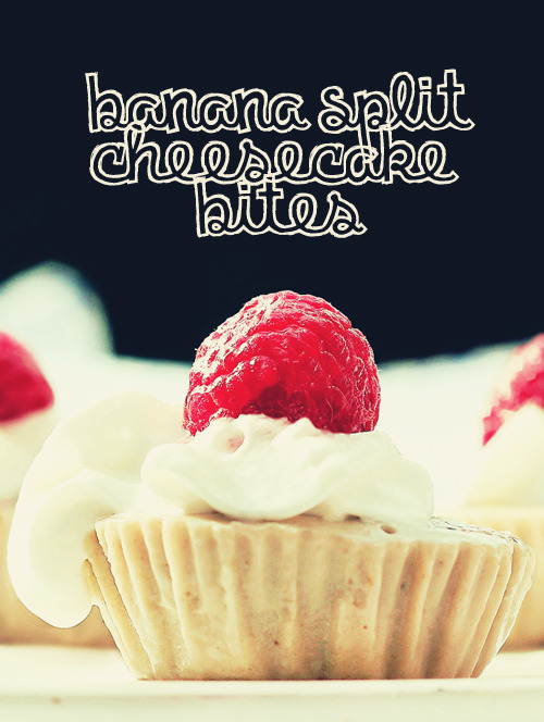 Banana Split Cheesecake Bites Ingredients ¼ cup canned coconut milk (light or regular) 2 teaspoons vanilla extract ⅓ cup mashed banana (measured after mashing) 1 stevia packet (any artificial sweetener of your choice) or 1 tablespoon sugar (or to taste tiny pinch of salt ⅓ cup raw cashew butter or coconut butter. (If you can't find either, you can make raw cashew butter by soaking raw cashews for a few hours until soft, then draining and blending. Be sure to measure the ⅓ cup after blending) Directions Blend everything together, very well. (blender or food processor.) If desired, you can add shredded coconut. Pour into cupcake liners or a small container, or you can even make a mini springform pie. Or increase the recipe to make a traditional-sized pie! Freeze until hardened (a few hours). Store in the freezer. Nutritional information per cheesecake:30 calories   2.5 grams fat   0.5 grams protein   2.5 grams carbs   0 mg cholesterolrecipe from this website