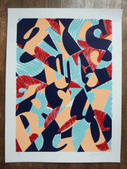 """Awesome trouble' Pieter Ceizer  silkscreen on paper 2012."