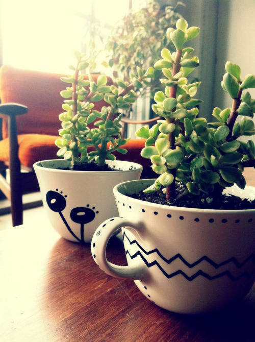 DIY Modern Teacup Planter. More teacup planters! This one you can personalize by using permanent markers. Tutorial from Sew Trashy here.