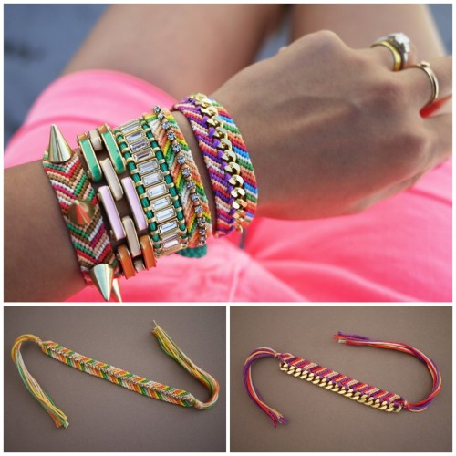 truebluemeandyou:  DIY Three Embellished Restyles for Friendship Bracelets. Great post today by Honestly…WTF! Not only do they give links to their past friendship bracelets, but there are three new restyle tutorials for these bracelets. Tutorial from Honestly…WTF here.