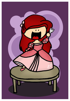 Cartoon Ariel with pink dress