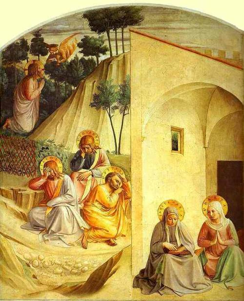 "Agony in the Garden  Fra Angelico, 1395-1455  Fra Angelico was a Dominican friar and a painter, and is known by many other names. He was born Fra Giovanni de Fiesole in Vicchio di Mugello and was baptized as Guido di Piero. He has also been known as ""Beato Angelico"" since 1984; ""Beato"" is a reflection on his painting (beauty), and ""Angelico"" is how he was referenced after his death (angelic). Nothing is known about Fra Angelico's parents, but it is thought that he came from a wealthy family. He initially received training in illumination, and many manuscripts are still in existence today in San Marco that are thought to be completely by his hand. Very little is known about his actual training, but it is thought that he was influenced by Lorenzo Monaco and the Sienese School of art. Around 1420, Fra Angelico entered the convent of San Domenico in Fiesole with his brother, Benedetto. It was at the convent that he produced frescoes for the monastery, as well as his first two works, ""Altarpiece of the Annunciation"" and ""The Coronation of the Virgin.""    Altarpiece Of The Annunciation   The Coronation Of The Virgin Fra Angelico would later paint in churches in Florence in the 1430s, and carried out commissions for the Dominicans in Cortona. His most important commission was completed during this time, ""The San Marco Altarpiece"", as well as frescoes for the convent in San Marco. He quickly gained notoriety for his artistic talents, and was in high demand.    San Marco Altarpiece In 1445, Fra Angelico would be called on yet again to paint frescoes, this time at the chapel of Santissimo Sacramento. This chapel has since been destroyed, but Fra Angelico would go on to paint commissions for Pope Paul III. Legend has it that he was offered the position of the Archbishop of Florence at this time, but he turned it down, though this is just speculation. During this time, Fra Angelico also took on a number of pupils including Zanobi Strozzi and Gentile de Fabriano. Fra Angelico returned to the convent in Fiesole in 1450, and made one last return to Rome in 1455 where he died. In 1982, he was given beatification by Pope John Paul II. There is a feast day in his honor every year on February 18, the day of his death, and his grave in Minerva continues to still draw worshippers to this day. The inscription on his tomb reads; ""When singing my praise, don't liken my talents to those of Apollo. Say, rather, that, in the name of Christ, I gave all I had to the poor. The deeds that count on Earth are not the ones that count in Heaven. I, Giovanni, am the flower of Tuscany."" While most of Fra Angelico's known work is housed in museums and in the churches and cathedrals they were commissioned for, it is possible that some of his unauthenticated work still exists. Illuminated manuscript pages or altarpieces stolen in times of war are only a few possibilities."