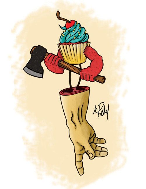 eatsleepdraw:  Can't Touch This! Cupcake