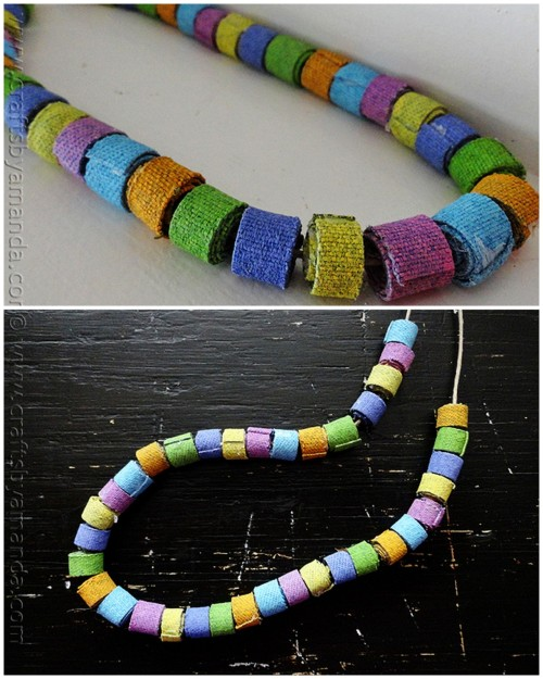 DIY Recycled Colorful Denim Bead Necklace. Easy enough for kids to make with supervision and something I would like to receive as a gift. Tutorial from Crafts by Amanda here.