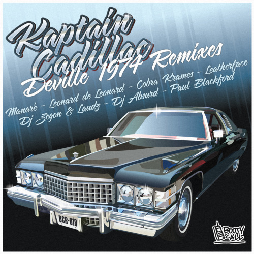 Kaptain Cadillac - Deville 1974 Remixes  Label : BOOTY CALL RECORDS Catalogue number : BCR 0018 Format :  Digital Relase date : 04/16/2012 Tittle : Deville 1974  Artists : Kaptain Cadillac, Manare, Leonard De Leonard, Cobra Krames, DJ Absurd, DJ Zegon & Laudz, Leatherface, Paul Blackford Artwork : Larry Print  Tracklist: 01 - Kaptain Cadillac - Ghetto Zoo (Manare Remix) 02 - Kaptain Cadillac - Bounce and Bang (Leonard De Leonard Remix) 03 - Kaptain Cadillac - Ghetto Zoo (Cobra Krames Remix) 04 - Kaptain Cadillac - Booty Up Booty Down feat Six Foe (DJ Absurd Remix) 05 - Kaptain Cadillac - Ghetto Zoo (DJ Zegon & Laudz Remix) 06 - Kaptain Cadillac - Booty Up Booty Down feat Six Foe (Leatherface Remix) 07 - Kaptain Cadillac - Ghetto Zoo (Paul Blackford Remix)  After Deville 1974 Kaptain Cadillac's last success, he has naturally given the keys of his Low Rider to the customization Dream Team of 100% remixes compilation travelling through various lands of bass-music, from Berlin to Chicago, from New Yord to Sao Paulo. The young and enthusiastic Manare gives us a Ghetto House 2.0 remix on hydraulic suspension, Leonard de Leonard sets up a Disco House velvet interior, Cobra Krames takes care of the bodywork as made in New York. DJ Absurd sets up a treated Dub Step and sulfate roof while DJ Zegon & Laudz take care of the trunk boomer with a Hip-Hop Trap remix. Leatherface adds a touch of Juke to the chromium sidewalls and Paul Blackford pumps up the engine with an electro-bass sub injection. The rid is finally ready to take the dancefloors and those versions of Devill 1974 promise to burn it all on its way.  BUY iTunes / JunoDownload / BeatPort STREAM SoundCloud / Deezer / YouTube