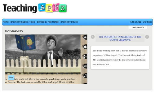Teaching Appz is a great new site devoted to cataloging iOS apps by content category. I strongly recommend a look if you're rolling out iPads or iPod Touches.