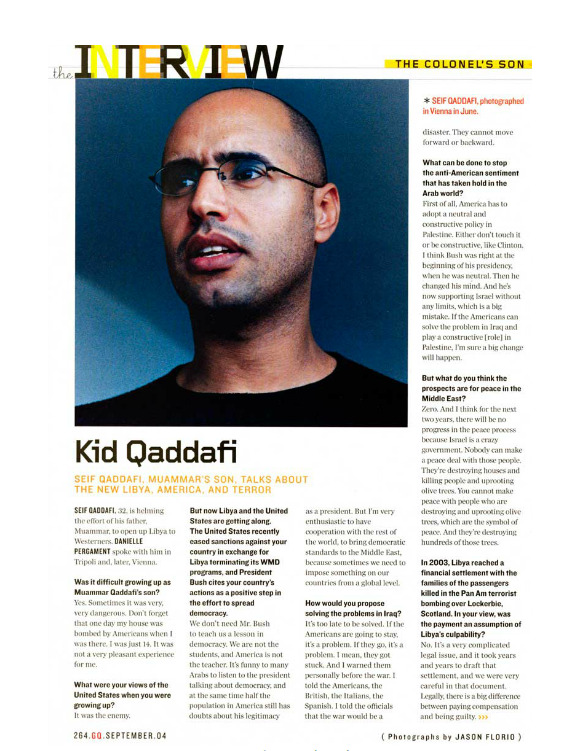 Archive: Saif al-islam Gaddafi - 'Kid Qaddafi -The Colonel's Son'  Image © Jason Florio Words: Danielle Pergament