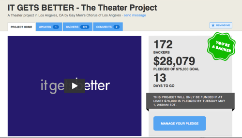 IT GETS BETTER - The Theater Project will bring the experience and message of the online It Gets Better Project™ to new communities and audiences by blending music, theater, and multimedia into a new work for the stage. At each stop of the show's U.S. national tour performances will be presented in tandem with a weeklong series of community outreach activities to strengthen local LGBT support networks. Please back this @kickstarter project. 37% funded with 13 days of campaign remaining. Please REBLOG, TWEET, RT, SHARE, DONATE, ETC http://www.kickstarter.com/projects/728876707/it-gets-better-the-musical-theater-project