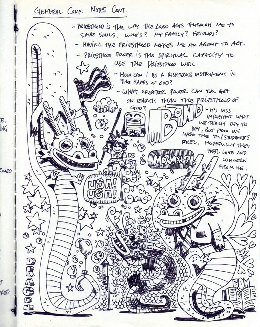 Notebook sketches. Page 3 of General Conference Notes. This is where I feel like my Chinese dragons starting getting pretty good. I also realized I was basically drawing the dragon they would summon on Dragonball.