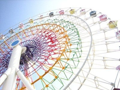 Within every carriage in the ferris wheel, happiness can be found.. When you look at these carriages, you are looking up to happiness <3