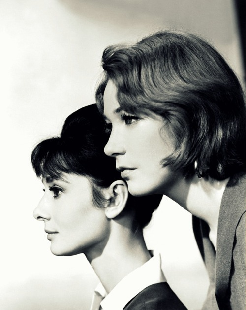 awesomepeopleinmovies:  Audrey Hepburn and Shirley MacLaine, promo shot for The Children's Hour, 1961