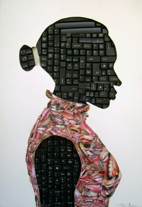 "Maurice Mbikayi | Untitled, 2010, Computer keyboard and collage on cardboard  ""Maurice Mbikayi was born in the Democratic Republic of Congo in 1974. He attended the Academies des Beaux Arts and graduated with a diploma in Graphic Design and visual communication in 2000, then decided to expand his horizons and moved to South Africa in mid-2004. In 2010 he participated in the Hollard Exchange Program facilitated by the Spier Arts Academy in Cape Town.""  via ladyfresh:"
