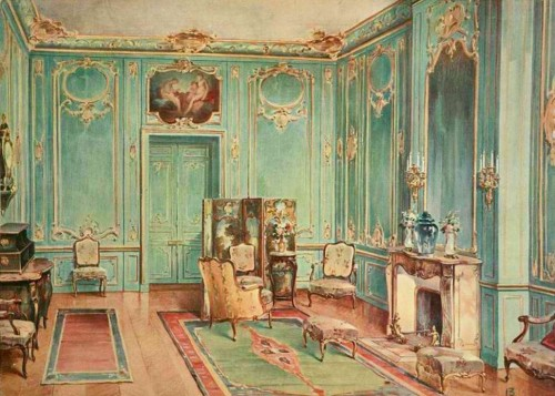 a-l-ancien-regime:  Great hall in the  Louis XV  style - watercolor (1907)