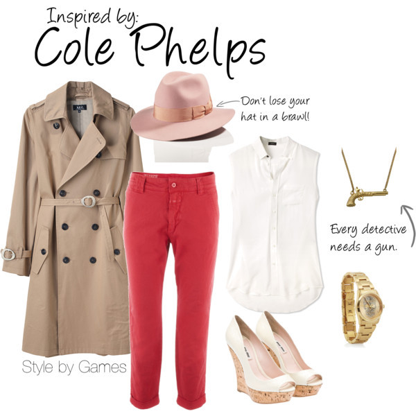 Cole Phelps (LA Noire) by ladysnip3r featuring skull watches Put your detective skills to the test in this girlie take on 50's menswear. Inspired by Cole Phelps of LA Noire. (Reference Image)