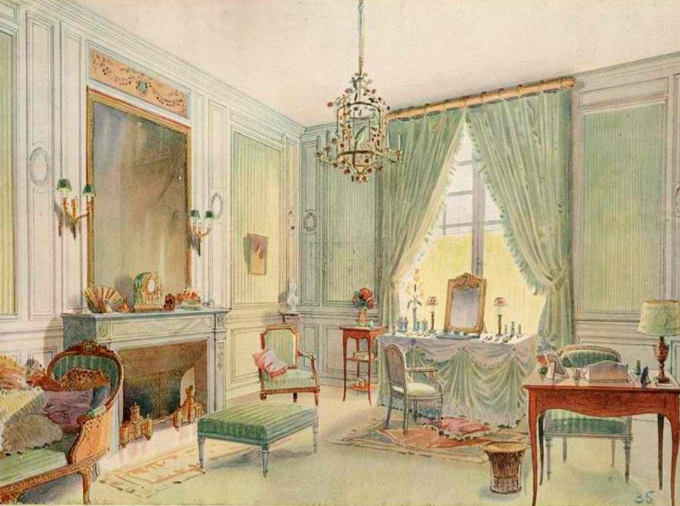 Boudoir Louis XVI style with chaise longue - watercolor (1907)