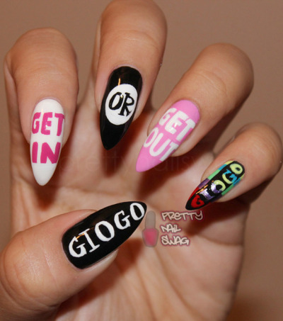 prettynailswag:  GET IN to my GIOGO inspired nails!! Did these for their Nail Show video that everyone should peep HERE. Love the GIOGO Girls!! GIOGO Show[YouTube] [Tumblr] [Twitter]