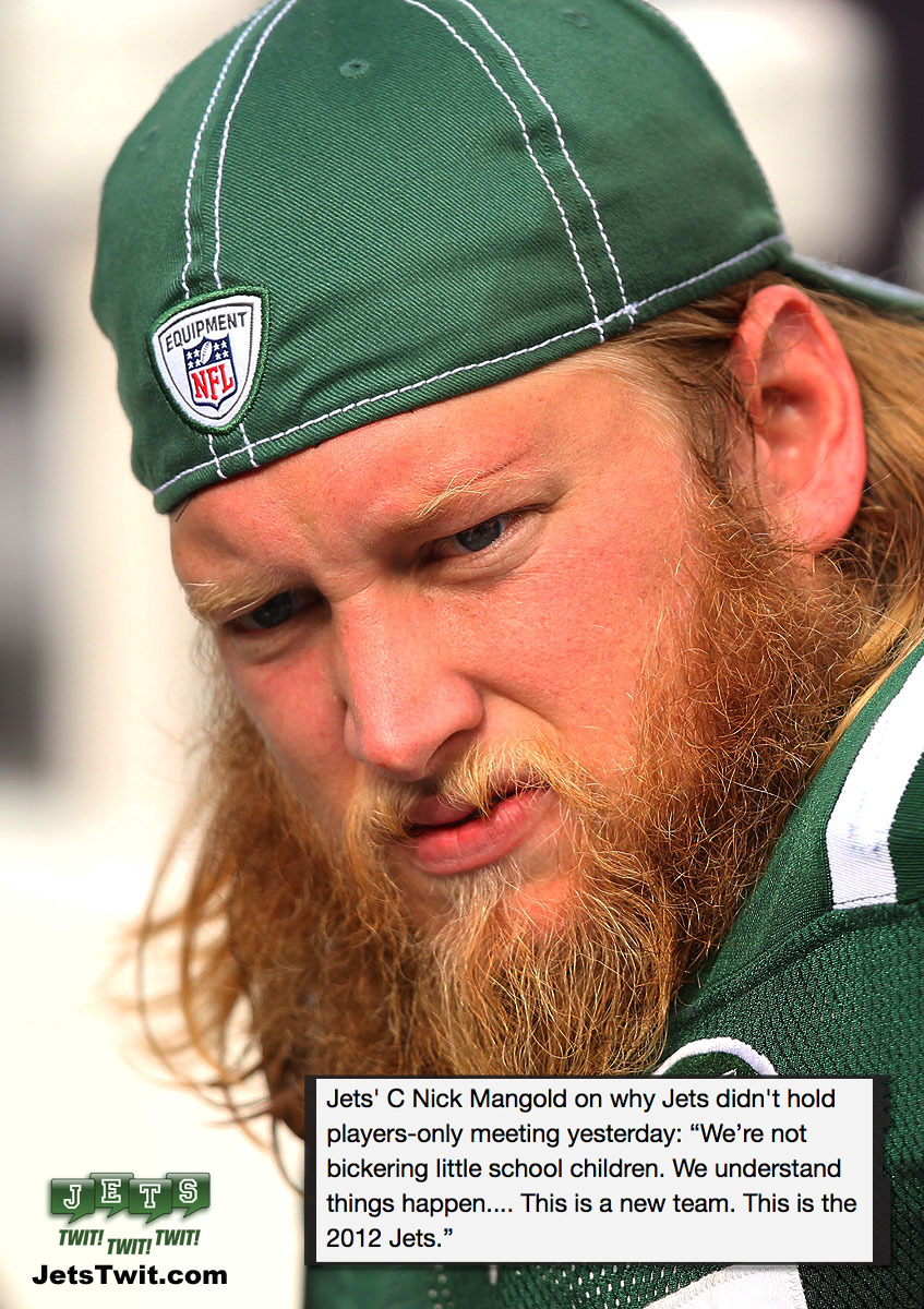 "@nickmangold ""We're not bickering little school children"" #Jets #NFL"