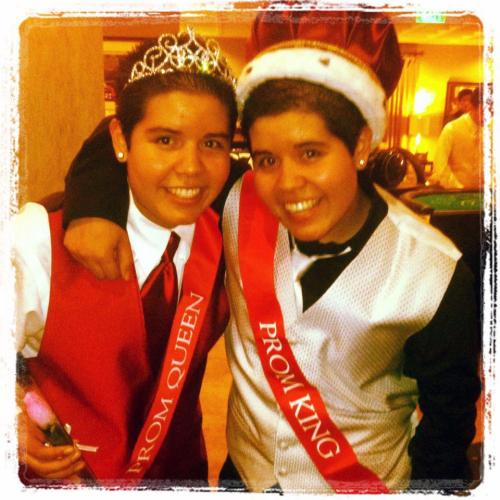 "This is cute: ""Congrats to the very first twin lesbian Prom King and Queen, Vanessa and Elizabeth Landeros from JFK Middle College High School!"" -from the Trevor Project"