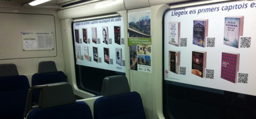 springwise:  In Spain, trains offer first chapter of novels through QR codes The Netherlands has already introduced an initiative to get commuters reading through the VertragingsApp, which offers up short stories based on travel time. Now the Ferrocarrils de la Generalitat de Catalunya (Catalan Government Railways) has placed QR codes with links to the first chapters of popular novels on its trains as part of the National Reading Plan, with the aim to encourage citizens of Spain to get into a good book. READ MORE…    —  Offering the first chapter of a book for free to encourage commuters to read — now that is an idea.