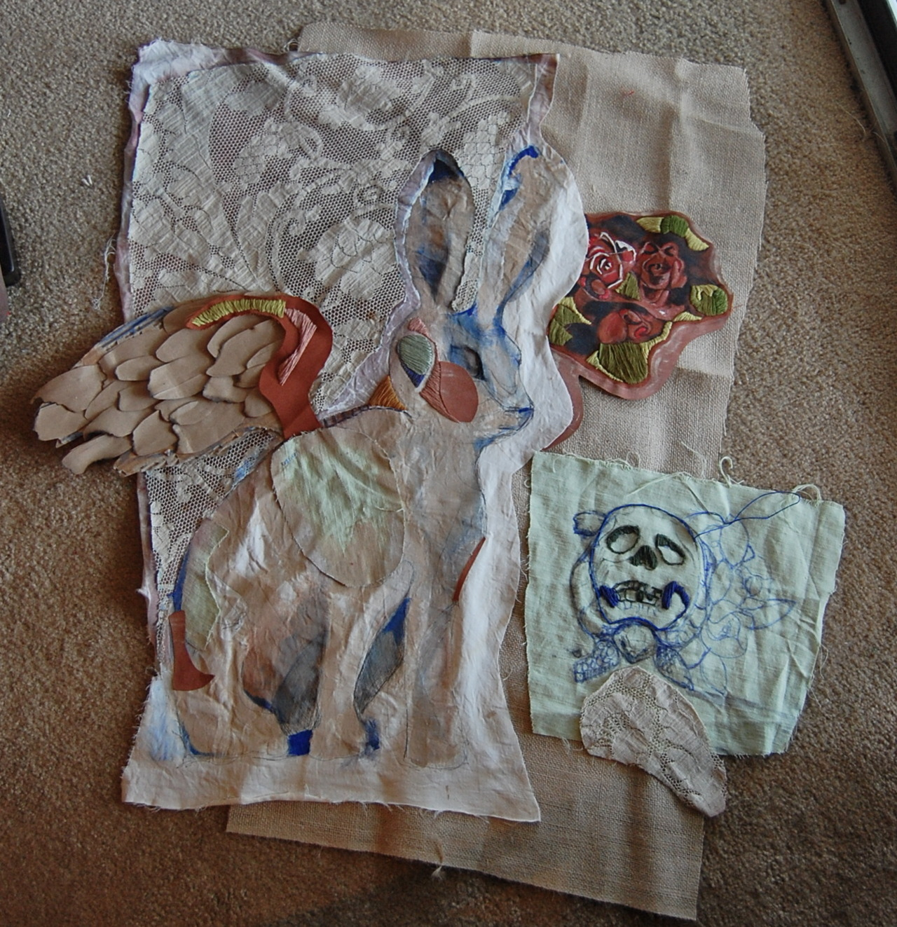 the59thstreetbridge:  Progress of my mixed media quilt, eventually I'll attach all the pieces together